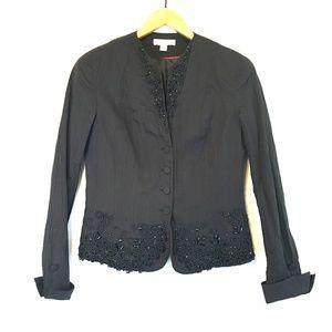 🔴 Coldwater Creek Embellished Beaded Black Blazer